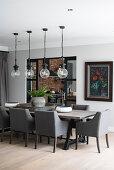 Elegant, industrial-style dining room