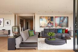 Grey upholstered furniture in living room