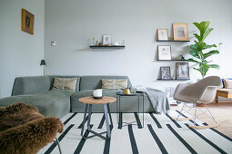 Living room in earthy shades in Scandinavian style