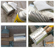 Instructions for making perforated candle lanterns from tin cans