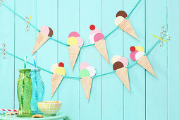Hand-made garland of paper ice cream cones