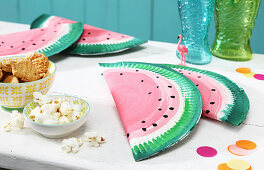 Gift boxes hand-made from paper plates with watermelon motif