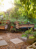 Raised beds made from wooden crates