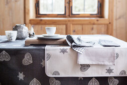 Festive grey and white table linen