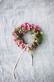 Wreath of crab apple blossom with ribbon