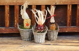 Autumn arrangement of corncob heads
