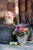 Autumnal bouquets in baskets