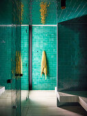 Spa area with green, Moroccan wall tiles