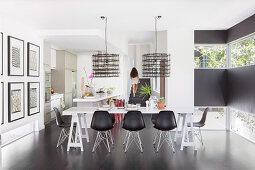 Modern dining room in black and white