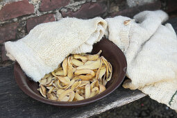Potato peelings for making traditional laundry detergent