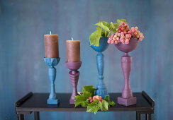 Goblets painted blue and purple