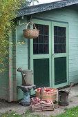 Körbe mit Granatäpfeln und Gießkannen vorm Gartenhaus