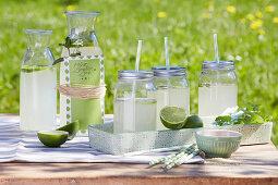 Selbst gemachte Limonade mit Limette und Minze in Schraubgläsern mit Strohhalm und in Karaffe