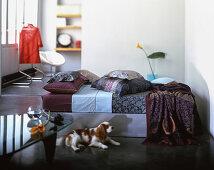 Tagesbett mit Kissen, davor Hund im Wohnzimmer