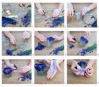 Windlicht mit duftenden Lavendelblüten und karierter Schleife herstellen