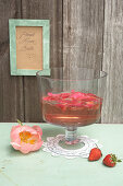 Strawberry punch with rose petals