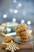 Sesame biscuits and snowflake decoration