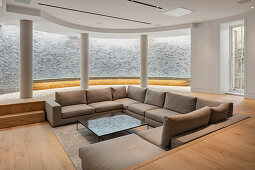 Basement living area with curved wall and garden access