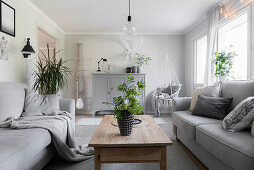Grey sofas, wooden coffee table and houseplants in living room