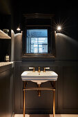 Vintage sink in dark bathroom