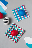 Handmade paper coasters and Easter eggs