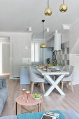 Multifunctional interior in pale grey and pale blue