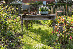 Old garden table as a decoration