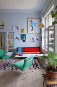 Colourful retro furniture in living room of period building