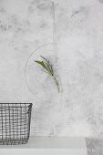 DIY wall decoration: flower in test tube in metal ring