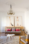 Elegant lounge with stucco details in period apartment