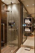 Niche shelves in mirrored wall next to shower in bathroom