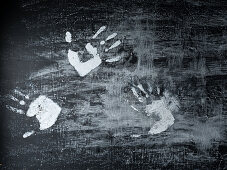 White hand prints