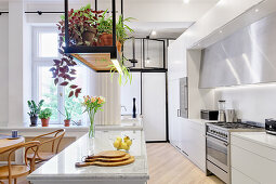 Suspended shelf above island counter in bright, open-plan kitchen
