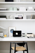 Black and white organisers and ornaments on shelves and desk