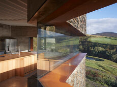 Modern architect-designed house with continuous ribbon window