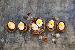 Easter eggs decorated with chick motifs in small baskets
