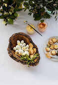 Honey mayonnaise, sundried tomato spread, crackers and boiled eggs