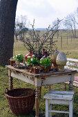 Rural Easter arrangement in the garden