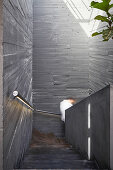 Board-formed concrete walls in stairwll