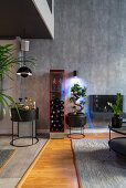 Red wine rack, home bar and bonsai tree in masculine living room