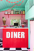 Counter in play house in American fifties style