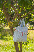 Hand-sewn picnic bag with bunting