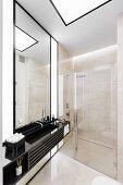 Walk-in shower in elegant bathroom