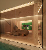 Pool and lounge in cellar of modern, architect-designed house