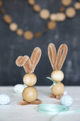 Bunnies handmade from wooden beads