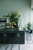 Charcoal-grey island counter with bar stools and lemon tree planted in centre in kitchen of loft apartment