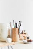 Vases and handmade leather penholder