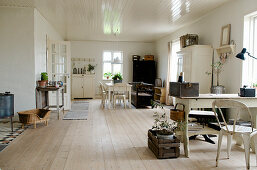 Desk and dining table in a Scandinavian style living room