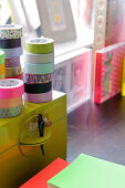 Rolls of washi tape and colorful decorations