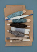 Cord and wool in blue-gray and natural tones